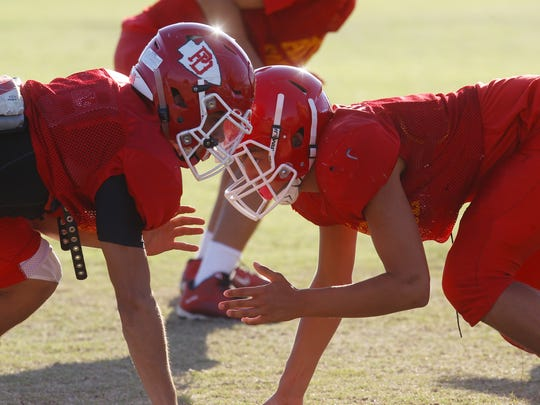 Palm Desert High School football players practice in preparation for their 2017-2018 season.