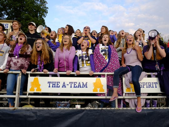 """The Algonac High School """"A-Team"""" student section cheers"""