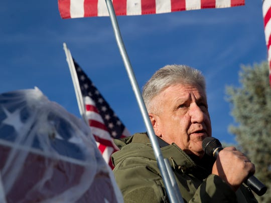San Juan County Sheriff Ken Christesen speaks during Tuesday's Stop Catch and Release Rally in Aztec.