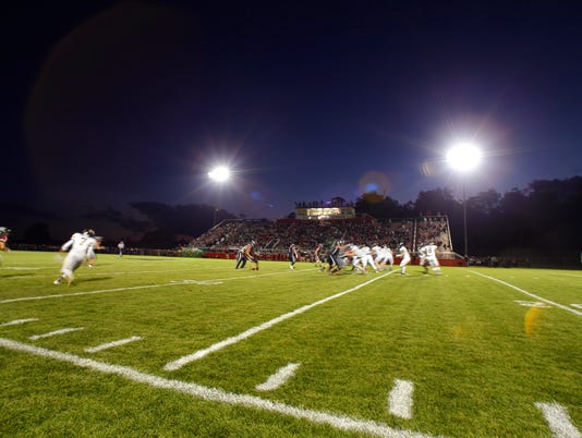 Football field under the lights