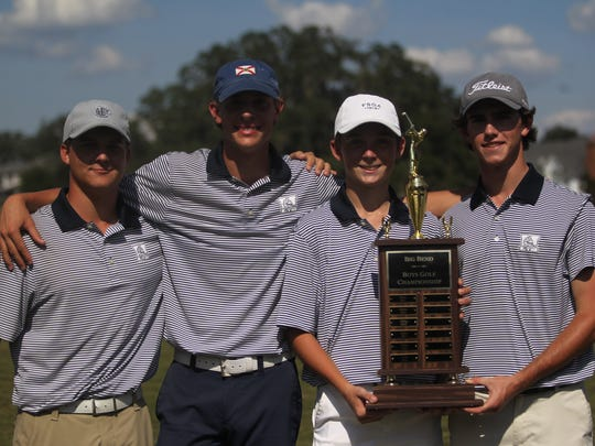 The Maclay boys golf team captured a Big Bend title on Thursday at Southwood Golf Club, becoming the first team after six years to win that wasn't Chiles. From left: Miller Shelfer, Spencer Fairfield, Patrick McCann, Bryson Bianco; Not pictured: John Menton