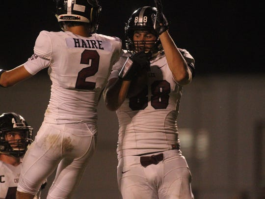 Chiles tight end David O'Meara celebrates after hauling in a touchdown in the first half against Lincoln.