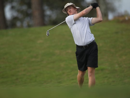Chiles' Bryce Johnson plays during Monday's City Championship at Hilaman Golf Course.