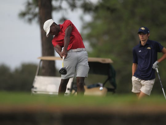 Leon's Marquis Taylor plays during Monday's City Championship at Hilaman Golf Course.