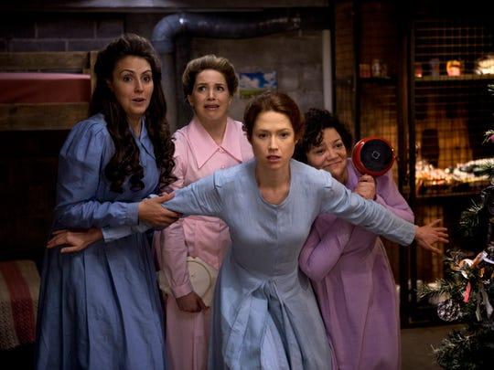 """Lauren Adams, left, Sara Chase, Ellie Kemper and Sol Miranda in a scene from Netflix's """"Unbreakable Kimmy Schmidt."""""""