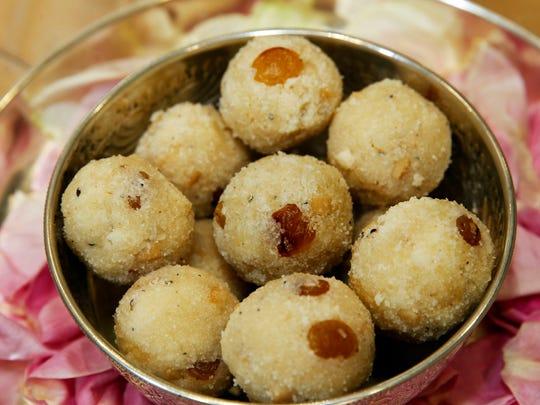 Rava ladoo are sweet balls made with cashews, raisins,