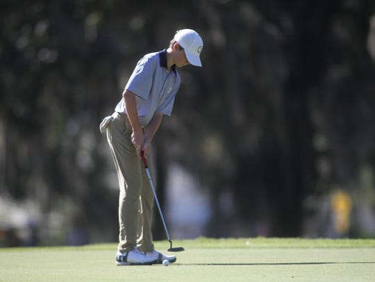 Maclay's Patrick McCann hits a putt on Southwood's