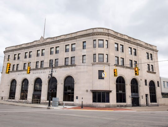 The Michigan National Bank building on the corner of