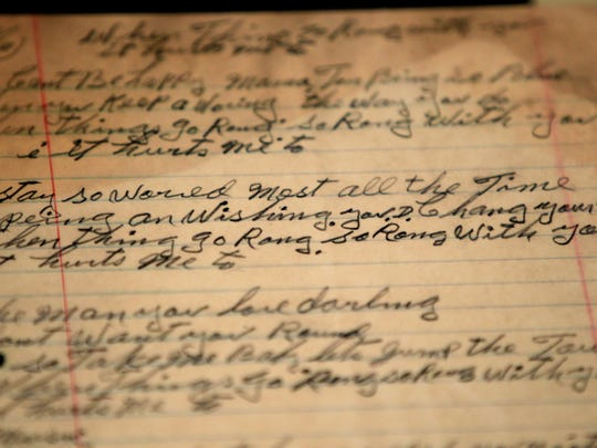 """May 5, 2015 - A handwritten lyric sheet to Tampa Red's """"It Hurts Me Too"""" is on display in The Blues Music Hall of Fame on South Main. The museum opens with a preview on Thursday and will be open to the public on Friday. (Mike Brown/The Commercial Appeal)"""