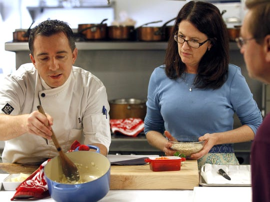 Chef David Baruthio, left, and cookbook author Wini