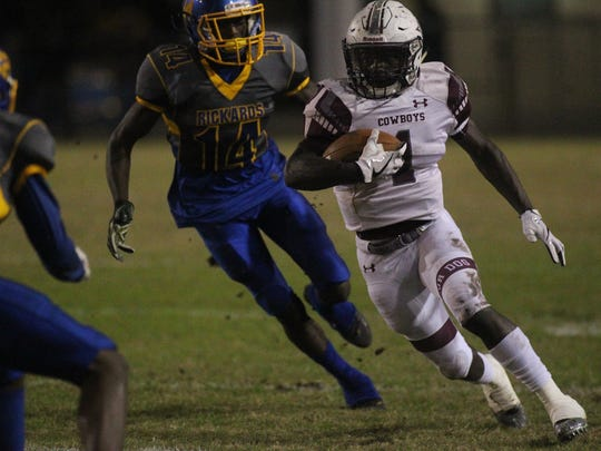 Madison County running back Derrick Staten ran for