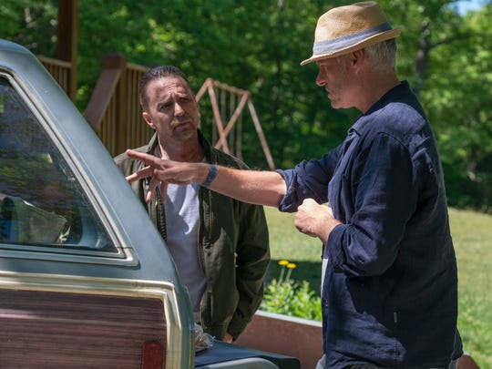 "Martin McDonagh (right) directs Sam Rockwell in ""Three"