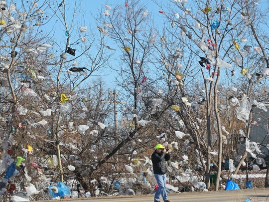 High winds sent plastic trash bags from Waste Management's Orchard Ridge Landfill into surrounding trees and fences near the company's facility on County Line Road in Menomonee Falls. Lawmakers in 2016 approved legislation that prohibited communities from banning plastic bags.