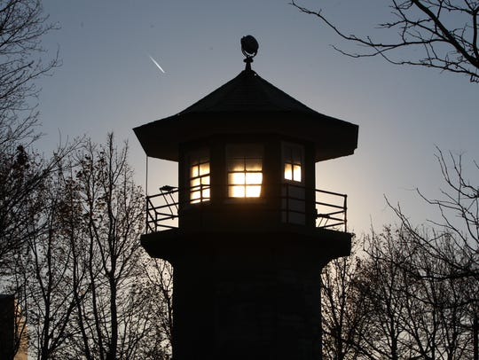 An unused old Sing Sing guard tower at Louis Engel Waterfront Park in Ossining.