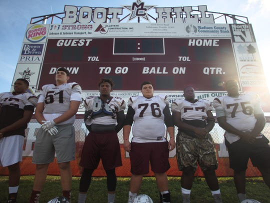 Madison County's offensive line has been paving the way for big games running the ball as the Cowboys have reached the FHSAA Class 1A state championship. From left: tight end Darius Johnson, right tackle Zane Herring, right guard Ta'Ronn Johnson, center Zac Coe, left guard Quonmane Washington, left tackle Ahmad Powell.