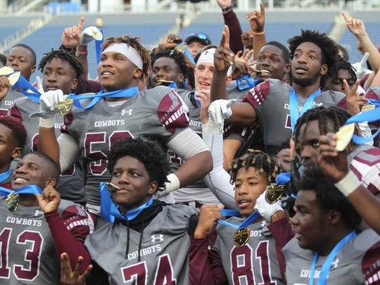 Madison County's football team defeated Blountstown 35-20 on Thursday, Dec. 7, 2017, to capture a Class 1A state championship.