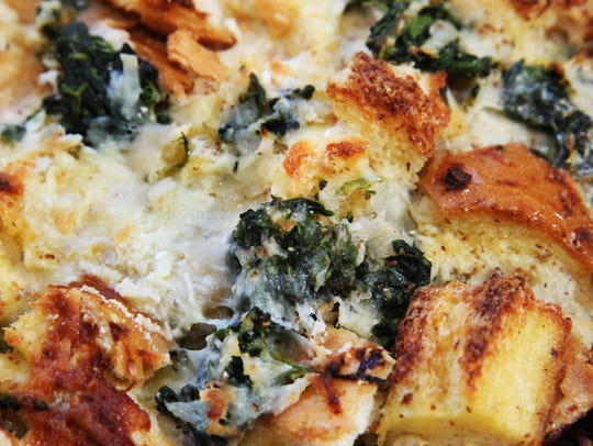 This overnight strata contains bread cubes, spinach