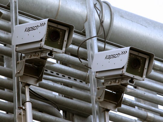 Kapsch cameras mounted on the electronic toll gantry for the Gov. Mario Cuomo Bridge on the eastbound New York State Thruway in South Nyack Dec. 13, 2017.