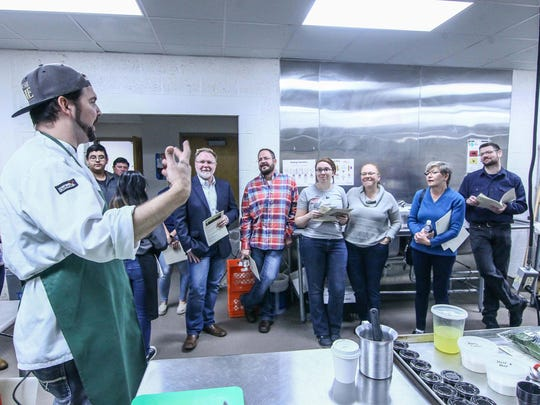 William and Merry Restaurant Executive Chef/Owner Bill Hoffman teaching students about soups preparation during the CROP Foundation monthly night cooking classes Thursday, Jan. 11, 2018, at William Penn High School in New Castle, Delaware.