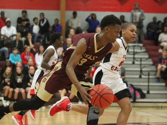 Florida High's Willie Taggart Jr. races up court on
