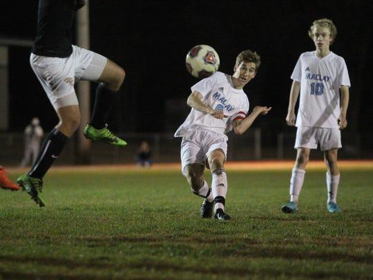 Maclay's Daniel Sweeney takes a free kick shot on goal