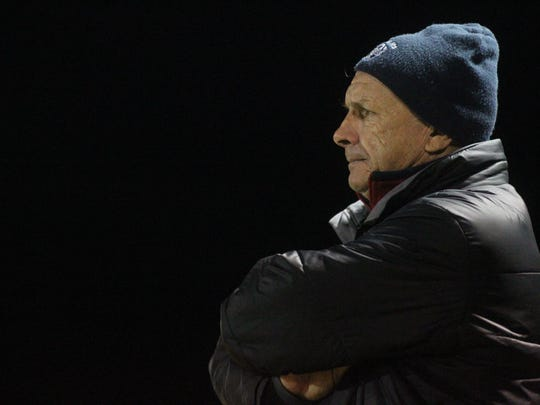 Maclay boys soccer coach Andy Warner watches his team during a 3-2 loss to Florida High on Tuesday.