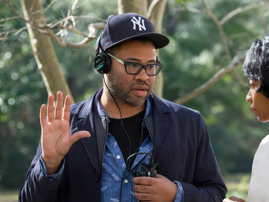 """Director Jordan Peele on the set of """"Get Out."""""""