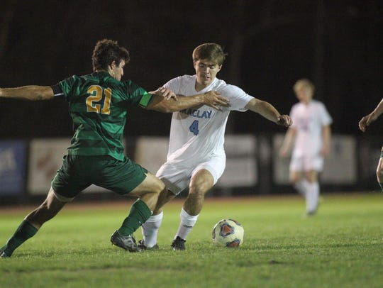 Maclay's Jordan Pichard tries to get free from a Shorecrest