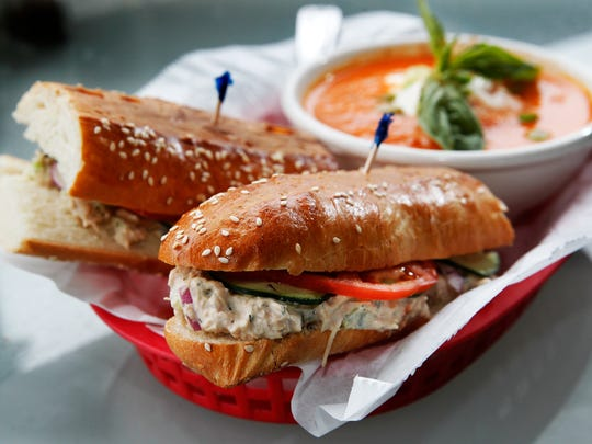 Capers, celery and dill flavor Boo-Boo's tuna salad sandwich, shown here with roasted red pepper soup from sister restaurant Soup Bros.