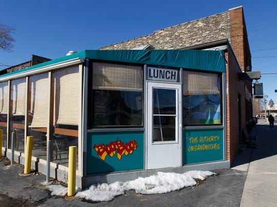 The colorful four-season patio at Boo-Boo's Sandwiches,