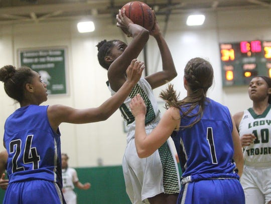 Ariel Young goes up for a shot during Lincoln's 64-58