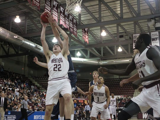 Fossil Ridge graduate Ryan Quaid had a double-double on Sunday to help West Texas A&M advance to the Sweet 16 of the Division II men's basketball tournament.