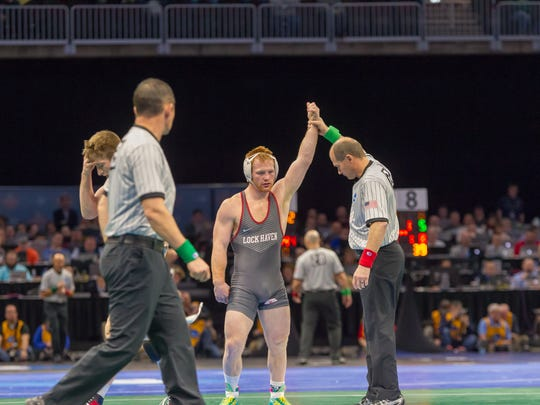 Kennard-Dale's Chance Marsteller advanced to the quarterfinals of the NCAA Championships by defeating two unranked opponents at 165 pounds.