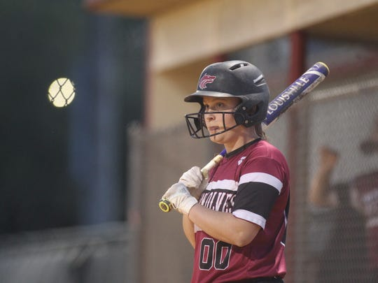 Chiles' Jordan Noles waits in the on-deck circle for her at-bat.