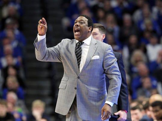 Mississippi's acting head coach Tony Madlock coaches against Kentucky, Wednesday, Feb. 28, 2018, in Lexington, Ky. Kentucky won 96-78.