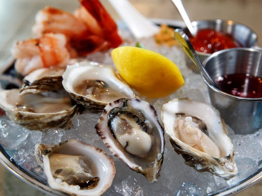 Oysters on the half shell and chilled jumbo shrimp,
