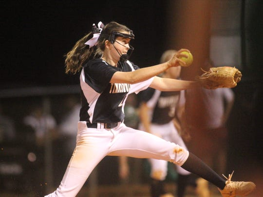 Chiles' Dani Bauer pitches during the district championship