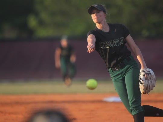 Lincoln's Kelsie Rivers pitches against Chiles in the district championship.