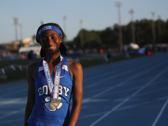 Godby sophomore A'Kyrah O'Banner tooks fourth in the Class 2A long jump at the 2018 FHSAA Track & Field State Championships at UNF in Jacksonville, May 4, 2018.