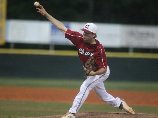 Zach Morea pitches as Chiles fell 7-3 to Fleming Island on Tuesday night in a Region 1-8A semifinal.