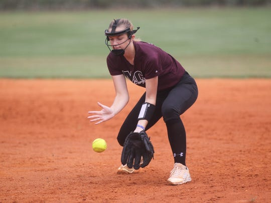 Madison County first baseman Hope Underhill and her