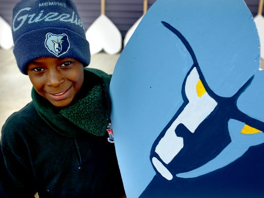 November 25, 2014 -  Donte Davis, 13, creates Grizzlies