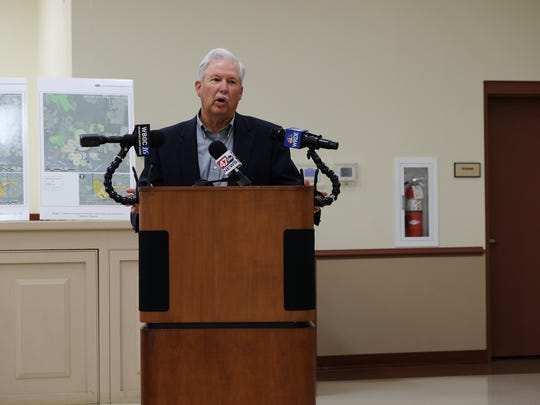 Dane Bauer, a wastewater spray irrigation expert who worked as a private consultant for Perdue Farms and Tyson Foods, speaks at a press conference in Millsboro on Wednesday, June 13.