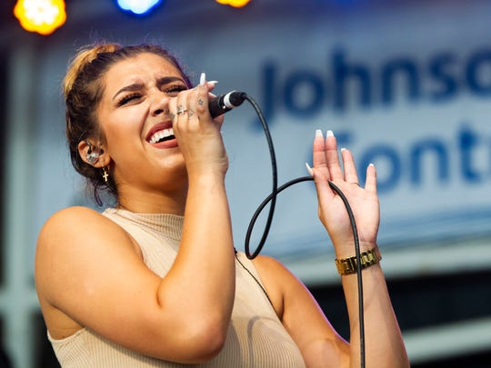 Hannah Mrozak performs at the Johnson Controls World