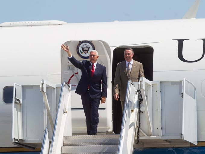 Vice President Mike Pence and US Rep. Rod Blum, R-Iowa,