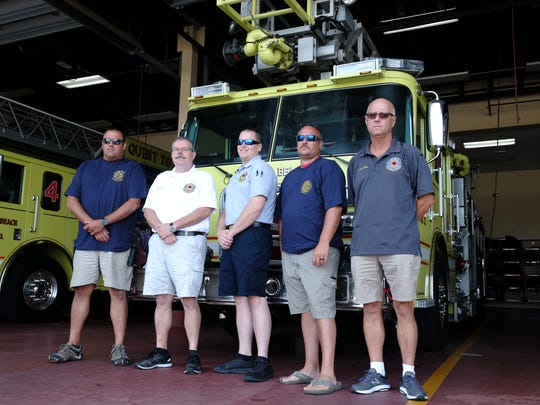 Bethany Beach Volunteer Fire Company Chief Brian Martin, President Michael Suit, EMS Chief Phil Brackin, Deputy Chief Shane Truitt and past Chief Chad Hickman stand outside their station on Wednesday, July 18, 2018.