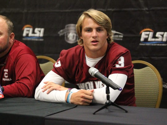 Chiles quarterback Garrett Greene talks during the 2018 4QuartersOnline Media Day for high school football.
