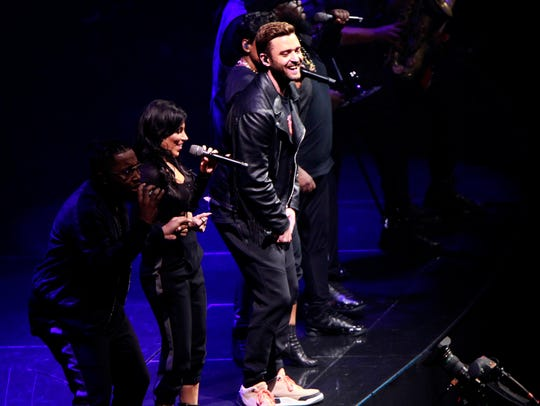 Justin Timberlake performs at the Fiserv Forum on Friday,