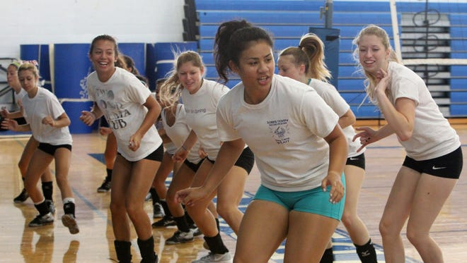 The Dobbs Ferry volleyball team practices at the school Aug. 27, 2014.