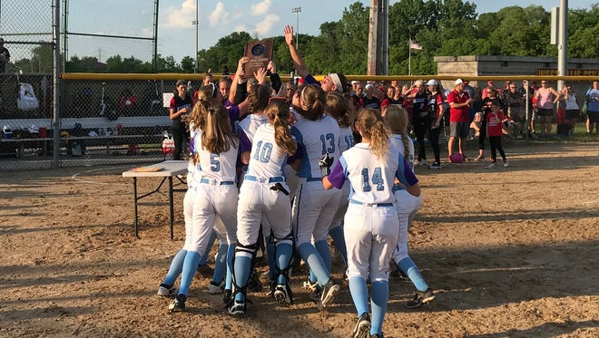 The Waukesha North softball team celebrates its sectional title after defeating Arrowhead, 1-0, on May 31. The victory sends the Northstars to the state tournament.